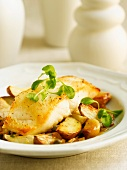 Pan Seared Cod Fish with Roasted Potatoes and Garlic