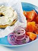 Sesame Bagel with Cream Cheese; Lox and Red Onion with Dill