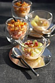 Prawn and celery salad served in glass cups