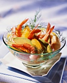 King prawn salad with avocados and oranges
