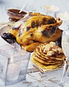 Truffled capon and potato cakes with goose liver