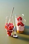 Mini raspberry cheesecakes served in glasses