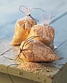 Sesame seeds in plastic bags