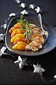 Spiny lobster with citrus fruits for Christmas dinner