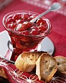 Cherry jam and toasted bread