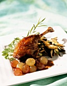 Roast duck leg with grapes