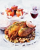 Roast turkey with pistachios and pomegranates