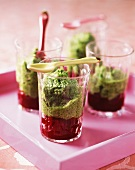 Parsley mousse on beetroot salad