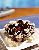 A cherry and white chocolate tartlet