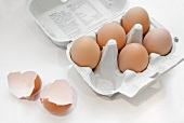 Brown eggs in an egg box with eggshells next to it