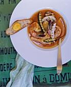 Bourride (Fischgericht, Provence) mit Grillgemüse