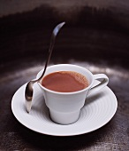 A Cup of Sugar Free, Lactose Free Hot Chocolate; With a Spoon