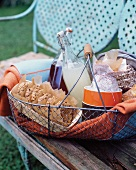 Picnic Lunch Packed in a Wire Basket