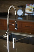 Modern chrome kitchen faucet