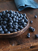 A Wooden Bowl of Fresh Blueberries