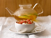 Yogurt Topped with Grapefruit and Granola; Tea Pot