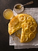 Lemon Upside Down Cake with a Slice Removed