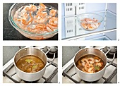 Shrimps in Brühe pochieren