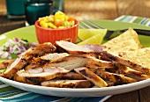 Pollo Asado; Mexican Roasted Chicken with Tortillas and Salsa