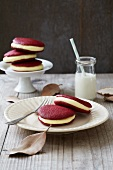Red velvet whoopie pies filled with lemon and vanilla cream