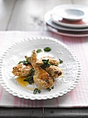 Artichokes with a polenta and Parmesan crust with honey and mint