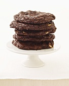 Chocolate Cookies Stacked on a Small Pedestal Dish