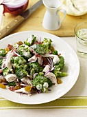 Chicken Broccoli Salad in a Creamy Dressing; On a White Plate