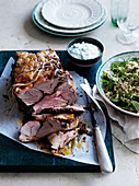 Roast lamb with mint yoghurt