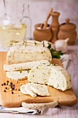 Hungarian cheese with thyme and pepper