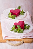 Beetroot mousse with lamb's lettuce