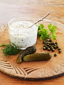 Tartare sauce with ingredients