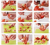 Lobster meat being removed from the shells (US-English voice-over)