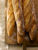 Five Baguettes on a Wooden Cutting Board Sprinkled with Flour