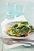 Sweetcorn salad with baby spinach and parmesan