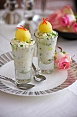 Crab salad with sorbet in shot glasses