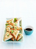 King prawn toast with soy sauce (Asia)