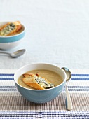 Onion soup with baguette and blue cheese
