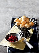 Lemon curd ice cream dessert with marinated raspberries for Easter