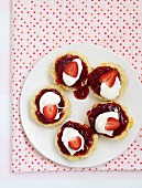 Sour cream scones with strawberry and rosewater jam