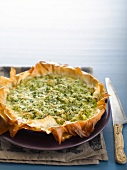 A puff pastry tart with pumpkin, ricotta and Parmesan