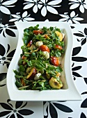 Nectarine and mozzarella salad with a green peppercorn dressing