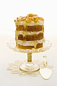 A celebratory layer cake with gooseberries and champagne syrup
