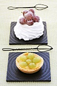 A grape tartlet and a pavlova with sugar-coated grapes