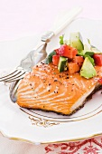 Salmon fillet with strawberry salsa