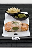 Salmon fillet wrapped in rice paper with Asian pesto