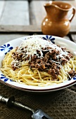 Spaghetti with wild boar ragout and Parmesan
