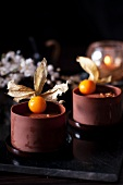 Chocolate mousse with physalis