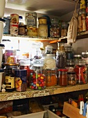 Various foods in a pantry