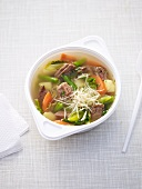 Vegetable soup with beef and horseradish