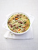 Beef and noodle broth